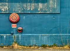 Sprinkler (Karen_Chappell) Tags: city blue red urban abstract building brick sign architecture newfoundland concrete industrial pipe stjohns sprinkler nfld