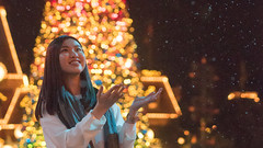 Wish Come True (the Jumping Sheep) Tags: christmas xmas winter portrait snow tree girl beautiful smile night hongkong lights warm bokeh snowy happiness olympus disney portraiture snowing merry inspiring omd decisivemoment em5