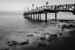 El embarcadero (J Fuentes) Tags: sea blancoynegro mar blackwhite agua flickr save embarcadero rocas mlaga marbella bestcapturesaoi elitegalleryaoi