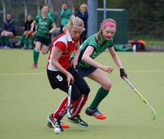 Ellie keeping close to the Cork Harlequins player and put in a vital tackle (Greenfields Hockey Club) Tags: hockey cork connacht quins harlequins greenfields dangan ihl irishhockeyleague greenfieldshockeyclub irishhockey connachthockey hockeygalway corkharlequins