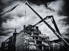 Delete (bnq.hendrix) Tags: blackandwhite cloud building monochrome crane highcontrast demolition delete