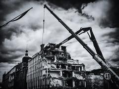 Delete (bnq.hendrix) Tags: blackandwhite cloud building monochrome crane highcontrast demolition delete