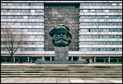 Monument [Explored #136] (shlomo2000) Tags: bronze outside empty sony philosophy communism ddr toned gdr eastgermany enormous denkmal karlmarxstadt