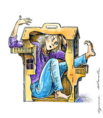 28-04-16s (Irina V. Ivanova) Tags: house selfportrait illustration ink watercolor toy sketch play drawing job dollhouse selfi 365sketches