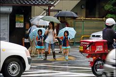 """Waiting for the Light"" - Kyoto, Japan (TravelsWithDan) Tags: family rain japan kyoto traffic candid streetphotography crosswalk umbrellas motheranddaughters"