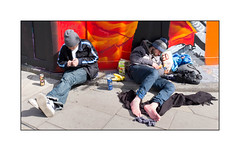 Gentleman Drinkers, East London, England. (Joseph O'Malley64) Tags: beer fence pavement homeless constructionsite addiction drinkers onthestreet destitute dishevelled homelessness sleepingrough roughsleeping constructionfence concretestep hordings gentlemendrinkers