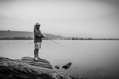 Fishing (five15design) Tags: light newzealand sky blackandwhite lake water rain clouds fun evening still fishing lakes salmon overcast calm rivers southisland centralotago trout bliss aotearoa rainbowtrout happyplace browntrout lakedunstan