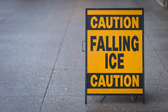 Falling ice (SauceyJack) Tags: street winter people chicago cold fall ice sign illinois downtown december loop streetphotography overcast il falling caution downtownchicago 2015 fallingice lrcc canon1dx 7020028isiil sauceyjack lightroomcc
