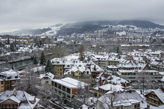 Bern from Up Top (Aymeric Gouin) Tags: voyage city travel winter white snow cold water architecture schweiz switzerland eau europe cityscape view suisse hiver capital olympus bern neige svizzera berne blanc froid ville omd em10 aymgo aymericgouin