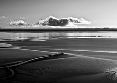 Low tide (CNorthExplores) Tags: water monochrome alaska clouds anchorage mudflats bnw explored