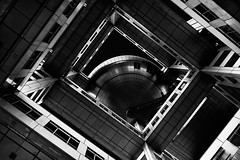 (Sunrider007) Tags: urban building glass japan architecture modern tokyo tv construction fuji steel sony engineering sigma gritty odaiba 35 cyberpunk filmnoir fujitv fujitvbuilding a7r