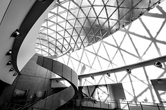 The Dali Museum, St. Petersburg, FL (nianci pan) Tags: sky blackandwhite bw abstract building geometric glass monochrome museum stpetersburg spiral pattern florida geometry sony indoor ceiling line staircase pan curve bnw thedalimuseum sonyalphadslr nianci sonyphotographing