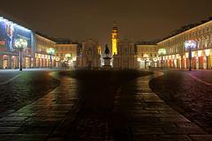 Notturno torinese, luci d'artista in piazza San Carlo (Citt metropolitana di Torino) Tags: torino luci monumenti piazzasancarlo notturno