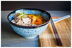 P1120370 (MsChiffon) Tags: blue food dinner lunch japanese udon bowl curry pork meal carrot slices foodphotography
