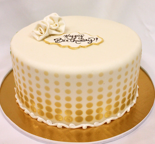 Metallic Gold Dots Designer Cake