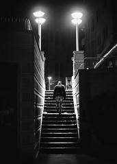 38/365 (goran1101) Tags: street city people urban blackandwhite bw monochrome silhouette night stairs contrast 35mm nikon outdoor candid serbia nightlight belgrade moment decisivemoment simetry d5100
