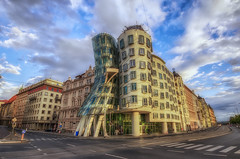 The  Nationale Nederlanden Building & Sunlight (Luminosity Masks) (JRE313) Tags: city blue sunset sky people clouds landscape photo europe glow republic czech prague no warmth hdr