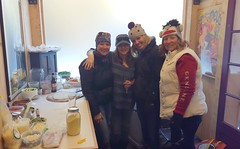 Laura, Geraldine, Pam & Julie inside the pizza house