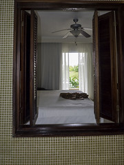 The view from our bath-tub (AR_the old guy) Tags: vacation beach tile bed bedroom raw dominican republic view room palm resort patio dreams shutters punta curtains cana toned enclosure lr57 p1200335