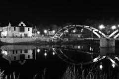 River reflections at night.  Pedestrian bridge in Jefferson, WI. (Andy Ziegler) Tags: longexposure bridge architecture night reflections river arch rockriver canon1740mm canon6d jeffersonwi