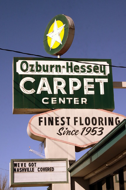 Ozburn-Hessey Carpet Center neon sign