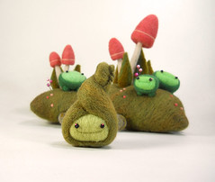 "Bud says ""Happy Spring!"" (Kit Lane) Tags: plant green wool felted toy pod character bud kitlane"