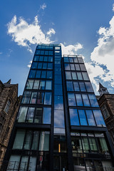 Quarter Mile Development-16 (Philip Gillespie) Tags: street city blue windows sky sun white reflection tower glass up skyline architecture clouds contrast work buildings outside photography scotland office spring edinburgh cityscape angle outdoor wide meadows april series block leading 2016 sequent
