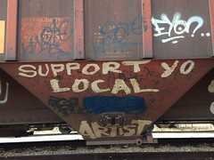 "Troy, N.Y.  Hopper car message, ""Support Yo Local Artist"". • <a style=""font-size:0.8em;"" href=""http://www.flickr.com/photos/96592303@N00/25926863393/"" target=""_blank"">View on Flickr</a>"