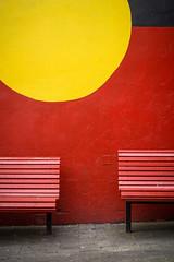 Newtown 5 (Mariasme) Tags: newtown red yellow benches flickrchallengewinner 15challengeswinner