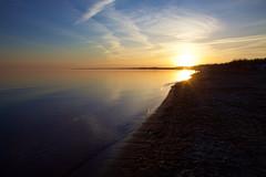 coast sunset (thatgirlwiththekicks) Tags: pink blue sunset sky orange sun ontario canada beach water silhouette yellow clouds golden evening pier lakeerie shore pastels gradient portstanley