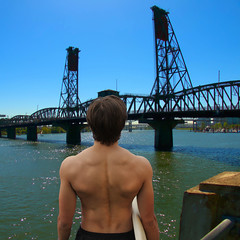 No Surf Today (swong95765) Tags: bridge guy water muscles river surfing surfboard