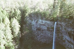 Shot #22, Roll #2 (imkaifilbey) Tags: blue trees cliff white green fall film creek 35mm skinny waterfall rocks minolta falls grainy thin plume plummet