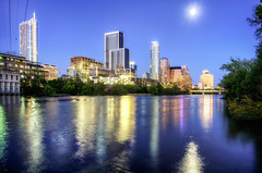 Moonrise over Austin Texas (Sky Noir) Tags: moon lake skyline night austin river twilight cityscape texas tx bluehour reflectons moonglade