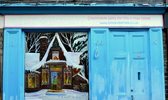 Winter scene on a Skipton shopfront (Tony Worrall) Tags: county uk blue winter england snow cold window wall outdoors town cool mural scenery stream paint tour open place painted yorkshire country north visit scene location front area northern update chill attraction skipton yorks winterscene welovethenorth