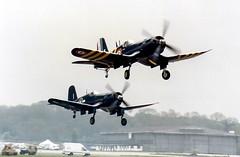 Corsair Pair (amisbk196) Tags: flickr aircraft aviation scan corsair 1991 amis northweald f4u7 fightermeet 133722 f4u4b nx1337a n240ca nz5628