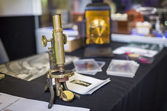 20160419_F0001: Vintage microscope (wfxue) Tags: metal leeds science equipment event research physics asbury historical brass biology microscope microscopy universityofleeds scientific asburycentre
