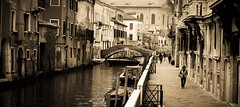 Venice morning (morag.darby) Tags: street morning bridge venice people blackandwhite bw italy building monochrome sepia architecture outside outdoors boat canal alley nikon europe candid historical nikkor d3300