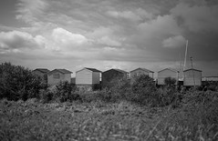 Mono Beach Huts... (Trm-photography.com) Tags: blackandwhite beach 35mm kent huts beachhuts whitstable fujifilmxt1