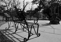 The Weather in Texas on a Winter Day (thor_mark ) Tags: trees austin bench blackwhite unitedstates tx cities overcast urbanexploration parkbench waterfountain streetbench texascapitolgrounds capitolgrounds lookingse project365 colorefexpro flickridea nikond800e dxoperspective capturenx2edited imagecaptureinmonochrome photowalkaroundaustin composeimageinblackwhite castironwaterfountain