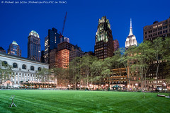 Bryant Park (DSC04341-Pano-Edit-Edit) (Michael.Lee.Pics.NYC) Tags: panorama newyork architecture night twilight construction cityscape sony lawn esb empirestatebuilding bluehour bryantpark publiclibrary americanradiatorbuilding a7rm2 zeissloxia21mmf28