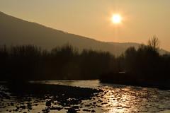 Tramonto sul Serio (lucapando) Tags: sunset reflection monocromo fiume cielo sole serio collina