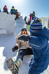 Caution (2016) (VRileyV) Tags: winter snow ice female children march child nt nwt caution northwestterritories yellowknife 2016 kidsplaying iceslide snowking snowkingicecastle