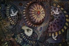 Girl with a Veil (AjayGoel2011) Tags: girl photomanipulation turkey veil istanbul domes compositing bluetiles