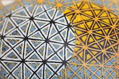 Perpetual Yellow Orbit (Katy David Art) Tags: sculpture white black art lines yellow 3d map folk space egg fine gray ostrich wax orbit resist linear eggshell batik perpetual beeswax pysanka pysanky