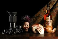 Still Life with Minolta and Nautilus (Studio d'Xavier) Tags: stilllife minoltax700 rum nautilus strobist