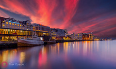 Bloody sunset in Bergen, Norway (Max Ozerov) Tags: city sunset reflection water buildings landscape pier bergen bildekritikk