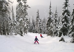Off-piste bumps (Ruth and Dave) Tags: trees dave snowboarding skiing father daughter bumps snowboarder skier sunpeaks offpiste catrin sunpeaksresort todmountain grannygreene