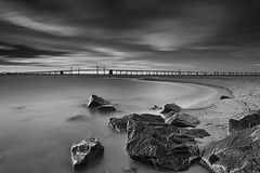 one for the road (dK.i photography (counting down)) Tags: longexposure bridge blackandwhite beach clouds landscape maryland boulders baybridge skidmore chesapeakebay sandypoint neutraldensity leefilters bigstopper