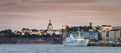 Summer night in Stockholm (Naetrogen) Tags: china city travel sunset summer sky people lake water beautiful architecture clouds landscape boat town warm europe cityscape sweden stockholm sunny squareformat goldenhour