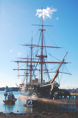 (nic lawrance) Tags: wood blue sea sky cloud sun water lines boats coast ship harbour portsmouth historical masts hmswarrior